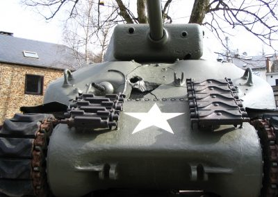 The battered front of the Sherman
